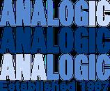 A logo in three shades of blue with 'Analogic' written three times. Underneath in dark blue 'est 1987'